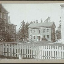 Image of [Ministry House, with Brick Dwelling at Left and the Church at Right] - Mount Lebanon, NY