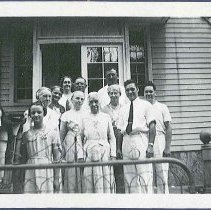 Image of [Ella Winship, Jennie Wells, Rosetta Stevens, and a Group of Worldly Friends] - Mount Lebanon, NY