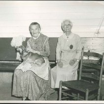 Image of [Sister Sarah Collins and Sister Rosetta Stevens with Dog] - Mount Lebanon, NY
