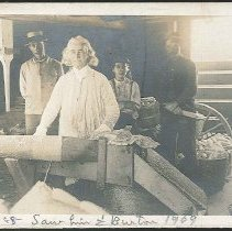 Image of [Elder Robert Valentine in the corn Stripping Shop] - Mount Lebanon, NY