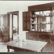 """Image of """"Part of Kitchen in the Office (Marble Hall), Showing the Dining Room in Back"""" - Union Village, OH"""