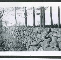 "Image of ""Stone Wall... Built in the Late 1800's by a One-Armed Man"" - Canterbury, NH"