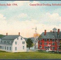 Image of Old Shaker Church, Built 1794, Central Brick Dwelling, Sabbathday Lake, Me. - Sabbathday Lake, ME
