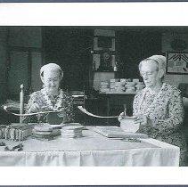 "Image of ""Eldress Beth Lindsay and Sr. Lillian Phelps Making Poplar Boxes"" - Canterbury, NH"