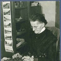 Image of [Eldress Sarah Collins Making a Braided Rug] - Mount Lebanon, NY