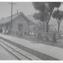 Image of Photo print copied from the original loaned from Henry and Fran Clark, Florence Schwab.  Larkspur train station about 1916.  Park by the station was a gift from the Larkspur Women's Improvement Club in 1910.