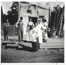 Image of First Fire House on Magnolia - includes Mrs. Doherty. - First Fire House