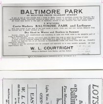 """Image of Two photos of cuttings from Advertisement of Booster day 1910, Baltimore Park. 2 sections, advertisements are printed in 1991 book, p. 164 and 170. Negs are in safe box. photo prints in acc envelope.  Advertisement """"LOTS $300 etc appears on inside cover of Larkspur Booster Day pamphlet. July 4th 1913  Print from negative."""