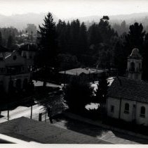 Image of Photo taken from roof top showing view of Larkspur City Hall and St. Patrick's Church.Print from negative.