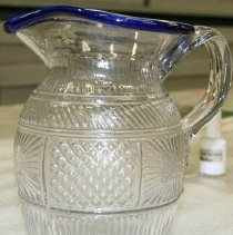 Image of Pitcher - 3-mold pitcher, blue rim
