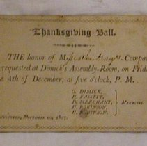 Image of Dewey Invitation to Thanksgiving Ball -