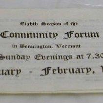 Image of Community Forum Schedule 1927 - Community Forum