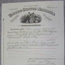 Image of Edmund Baldwin Pension Certificate  - United States. Pension Bureau