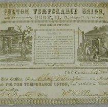 Image of Temperance Membership Certificate - Fulton Temperance Union (Troy, N.Y.)