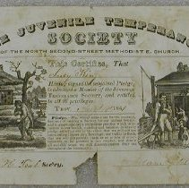 Image of Juvenile Temperance Society Certificate - Juvenile Temperance Society