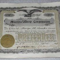 Image of Martin-Wasp Corporation Stock Certificate - Martin-Wasp Corporation