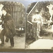 Image of Stereograph - Be shtill ash moush,--little late, guessh.