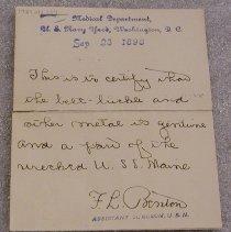 Image of USS Maine verification Letter - Benton, F. L.
