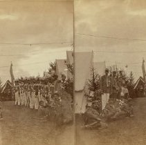 Image of Stereograph - Co. C and Street - Sprague Guards