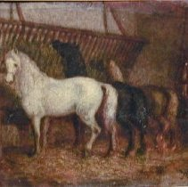 Image of Painting - Three horses in a Stable and Figure Kneeling at a Grave