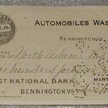 Image of Martin-Wasp Corporation Check - First National Bank of Bennington (Bennington, Vt.)