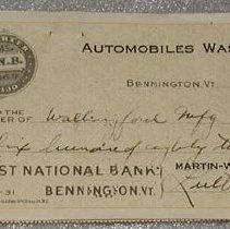 Image of Martin-Wasp Corporation Check - First National Bank of Bennington (Bennington, Vt.)