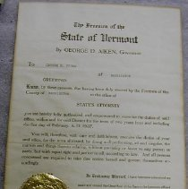 Image of George H. Plumb appointment to Attorney General - Vermont