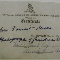 Image of National League of American Pen Women Certificate -
