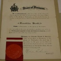 Image of Franklin Scott Attorney Certificate  - Vermont Supreme Court.