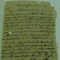 Image of Ethan Allen Letter Re: Shay's Rebellion - Allen, Ethan