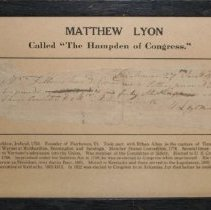 Image of Matthew Lyon Receipt - Lyon, Matthew