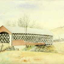 Image of Painting - Old Covered Bridge on Historic North Road