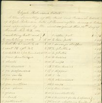 Image of Elijah Robinson Estate Inventory 1816. - Robinson, Moses