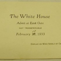 Image of White House Reception Ticket - Hoover, Herbert