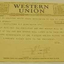 Image of Richey Western Union Telegram - Hoover, Herbert