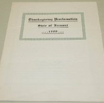 Image of George H. Prouty Thanksgiving Proclamation - Prouty, George H.