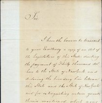 Image of Thomas Chittenden Letter to Governor George Clinton of New York -