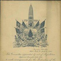 Image of Bennington Battle Monument Dedication Invitation - Bennington Battle Monument Association