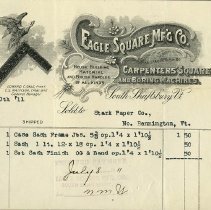 Image of Eagle Square Manufacturing Co. Letterhead - Eagle Square Manufacturing Co. (South Shaftsbury, Vt.)