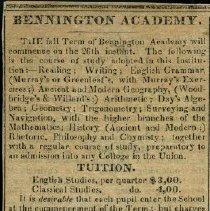 Image of Bennington Academy Advertisement - Bennington Academy (Bennington, Vt.)