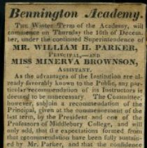 Image of Bennington Academy Advertisement - Bennington Academy (Bennington, Vt.)