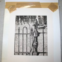 Image of Etching - Cemetery Gate, Sharon, Vermont