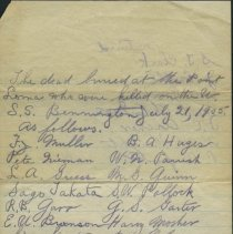Image of Handwritten list of dead on USS Bennington. - Van Epen, Cornelius
