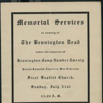 "Image of ""Memorial Services in Memory of the Bennington Dead""  -"