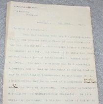 Image of William Henry Jakway Letter of recommendation  - Hargitt, Charles W.