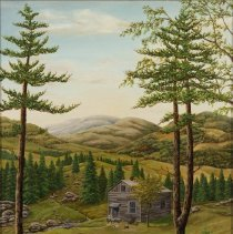 Image of Painting - Hunter and Cabin in Landscape
