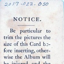Image of Front of Photo Instruction Card