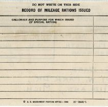Image of Mileage Rationing Record