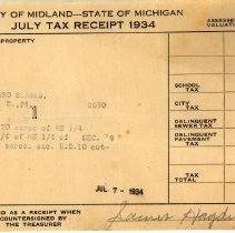Image of Leonard Stark's July 1934  Property Tax Receipt