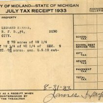 Image of Leonard Stark's July 1933  Property Tax Receipt